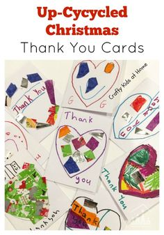 Don't throw away your used Christmas Cards, Christmas Crackers and Christmas Wrapping Paper just yet. Instead use some to add a unique design to your DIY Christmas Thank You Cards this year. Preschool Christmas Activities, Creative Activities For Kids, Projects For Kids, Project Ideas, Craft Ideas, Christmas Thank You, Christmas Arts And Crafts, Diy Christmas, Christmas Cards