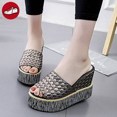RUGAI-UE Sommer Mode Frauen Sandalen Schuhe Casual PU Komfort Fersen, weiß,  EU
