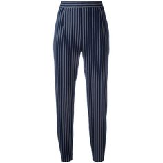Pierre Balmain striped cropped trousers ($371) ❤ liked on Polyvore featuring pants, capris, blue, blue striped pants, stripe pants, cropped pants, cropped capri pants and cropped trousers