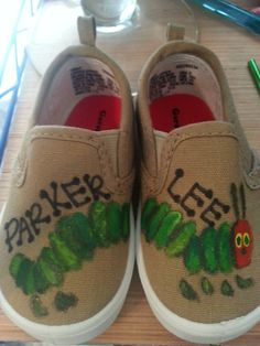 Very Hungry Caterpillar Canvas Shoes by ShelbysCreaZinns on Etsy