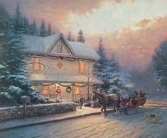 Thomas Kinkade Art, Thomas Kinkade Christmas, Christmas Scenes, Christmas Art, Christmas Lights, Christmas Ideas, Kinkade Paintings, Oil Paintings, Painting Art