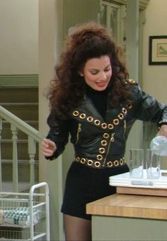 Fran Drescher's 90s Style Leather Jacket and Mini Skirt Outfit As Seen on The Nanny // More Style Inspiration Ideas To Steal from The Nanny: (http://www.racked.com/2015/10/22/9586048/the-nanny-fran-drescher-style)