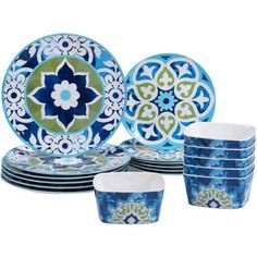 Dinnerware Set 18 Piece Melamine Dinner Plates Bowls Dishes Salad Kitchen Home Royal Copenhagen, Delft, Royal Doulton, Melamine Dinnerware Sets, Tableware, Dinnerware Ideas, Dish Sets, Plates And Bowls, Ceramic Design