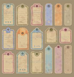 Vintage tags set with grunge effect (vector)