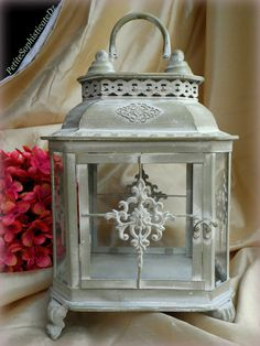 """15"""" tall Decorative Indoor/Outdoor Lantern with Glass inserts-Shabby Wedding,Pillar Holder,Garden Decor,Garden Reception,Centerpiece,Party"""