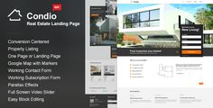 Condio - Single Property Real Estate Theme . Condio is an WordPress Real Estate One Page & Landing Page Template. Promote your real estate developer project with Condio and collect the information from your visitors thanks to conversion centered design of the template. Use these information to promote and inform about new changes in your