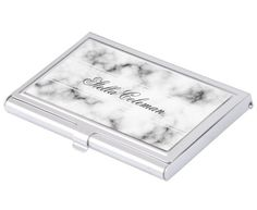 Elegant white marble personalized name business card case. Elegant business card holder featuring your name on a marble background texture.