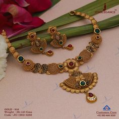Get In Touch With us on Gold Wedding Jewelry, Gold Jewelry Simple, Gold Jewellery, Gold Earrings Designs, Antique Jewelry, Gold Necklace, Necklace Set, Gold Set, Women