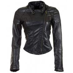Biker Womens Cropped Leather Jacket