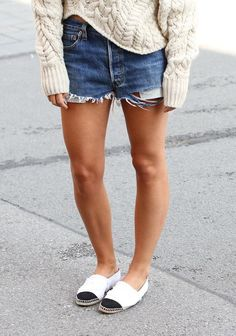 cut offs… if i had the legs for them most def with that big sweater but i'd wear my black converse sneaks!!