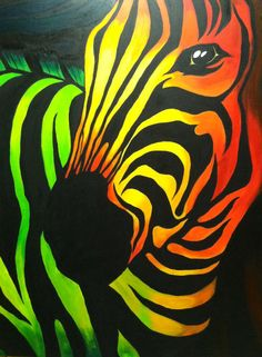 Acrylic on Canvas. Multi Colored Abstract Zebra.