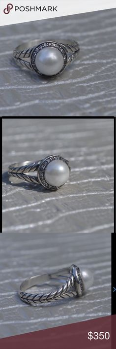 David Yurman Diamond and Pearl Ring Beautiful David Yurman Diamond and Pearl Ring in Sterling Silver. Size 7 David Yurman Jewelry Rings