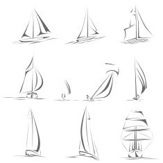Set of different sailing ships icon(simple vector). vector art illustration