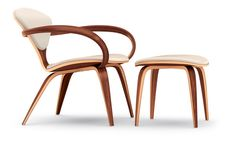 In 1958, the furniture maker Plycraft introduced a plywood armchair designed by Norman Cherner with slim legs, a fan-shaped back and a nipped-in waist.  The latest version is a lounge chair and ottoman. Designed by Cherner's son Benjamin, the new chair is curvaceous and visually light — qualities that derive from the continued use of molded plywood.     The Cherner Lounge Chair starts at about $2,150 with the ottoman. Information: (866) 243-7637 or chernerchair.com.