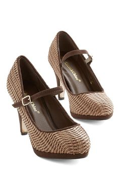 Quirk Your Magic Heel - Faux Leather, Brown, Tan / Cream