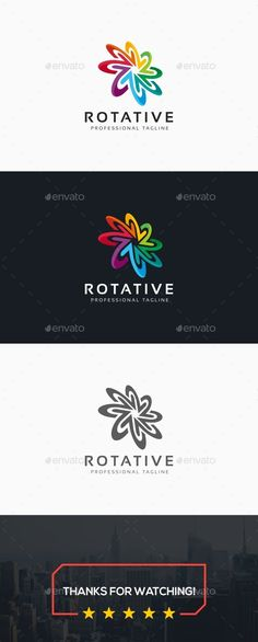 Rotation Logo: Abstract Logo Design Template created by i_Russu. Portfolio Logo, Branding, Abstract Logo, Color Palate, Logo Design Template, Visual Identity, Lettering, Templates, Arrows