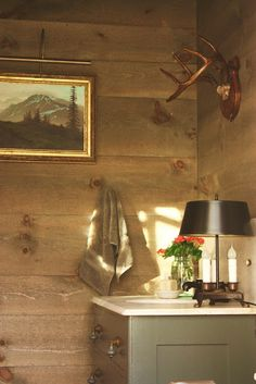 Shiplap stained in a transparent water based stain in a for Barn board bathroom ideas