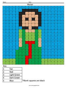 Click on the image to view the PDF.  Print the PDF to use the worksheet. Mulan- Basic Division Solve simple one-digit division problems and use the key at the bottom of the page to create a fun Mul…