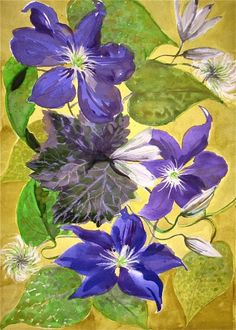 Clematis Cluster by Gretchen Kelly, New York Artist, painting by artist Gretchen Kelly