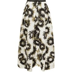 Erdem Elena cotton-blend fil coupé midi skirt ($1,920) ❤ liked on Polyvore featuring skirts, white, knee length pleated skirt, white knee length skirt, calf length skirts, white midi skirts and mid-calf skirt