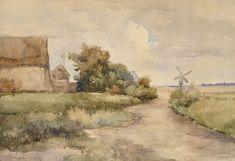 BRAUNEROVÁ Zdenka   Bretaňská krajina s větrným mlýnem (Cayeux-sur-Mer)   90. léta 19. st., akvarel, papír, 22,7 × 33,5 cm