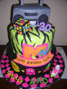 80s theme Birthday cake