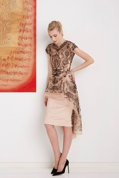 Lela Rose Pre-Fall 2015 - Look 17 - tattoo lace high-low overlay with blush pencil skirt dress and black suede stiletto heels