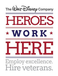 #military #veterans Dear Walt Disney company...as a proud Military wife, I want to thank you for proving Veterans have magic in them, too.  Jobs for veterans: http://disneycareers.com/en/working-here/heroes-work-here/ - Post Jobs and Become a Sponsor at www.HireAVeteran.com