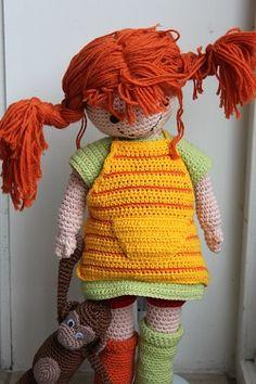 Pippi Langkous, heerlijke grote zachte knuffel pop om te haken