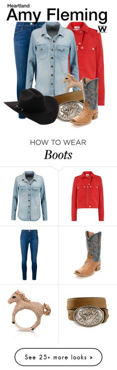 """""""Heartland"""" by wearwhatyouwatch on Polyvore featuring Frame Denim, Courrèges, Current/Elliott, Effy Jewelry, Nocona, Dan Post, television and wearwhatyouwatch"""