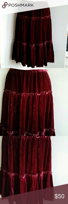 """Skirt Burgandy Tiered Velvet Size 8 NWT 15.5"""" waist, approximately 28"""" long, lined in beautiful satin, skirt 3 tiers velvet 18% silk, 82% rayon, each layer gathered, labeled size 10 but please see waist measurements, can be for smaller sizes if worn lower. I think size 8 is best. Fresh Twist  Skirts A-Line or Full"""