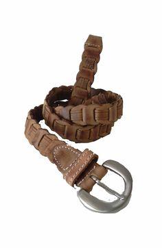 Vintage Light Brown Leather Snake Belt