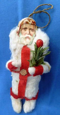 ANTIQUE COTTON CHRISTMAS ORNAMENT, SANTA, scrap face!!!
