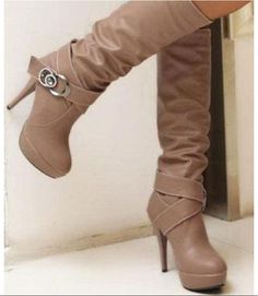 c3e7f109250 Double Strap Buckle High Heel Knee Boots in BROWN from MooChooShu(I think  they left the purse