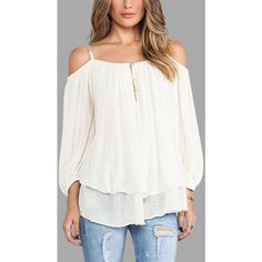 Yoins White Cold Shoulder Lantern Sleeves Blouses (115 DKK) ❤ liked on Polyvore featuring tops, blouses, white, open shoulder tops, frilly blouse, ruffle blouse, ruffle cold shoulder top and cut out shoulder blouse