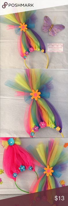 Neon Rainbow Troll Hair Headband Handcrafted tulle neon rainbow colored troll hair headband. Super cute and fun accessory for the kiddos who loved the Trolls movie! This is a custom design, movie character styles are also available. These are custom made so details may vary. Also available in my etsy shop, and make great party favors  Accessories Hair Accessories
