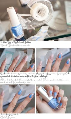 Use tape to create triangles on nails Source