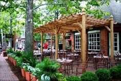 restaurant outdoor Restaurant Outdoor Patio area design-The Trellis in Williamsburg Virginia Outdoor Restaurant Design, Restaurant Seating, Terrace Restaurant, Pizza Restaurant, Restaurant Ideas, Trellis Design, Patio Design, Outdoor Seating Areas, Outdoor Dining