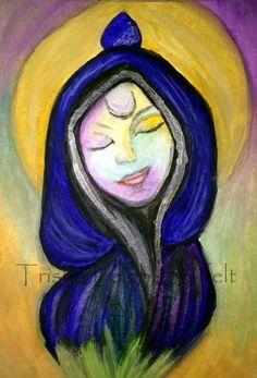 ACEO Original Watercolor Spirit Totem Crystal Deva by ArtInSoulorg