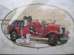 Classic Fire Engine Cross Stitch Pattern***L Just Cross Stitch, Counted Cross Stitch Kits, Fireman Quilt, Firefighter Cross, Fire Engine, Colorful Pictures, Fire Trucks, Cross Stitching, Needlepoint