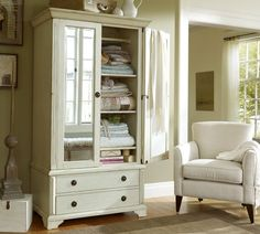 Shop armoire from Pottery Barn. Our furniture, home decor and accessories collections feature armoire in quality materials and classic styles. Furniture Upholstery, Bedroom Furniture, Home Furniture, Bedroom Decor, Funky Furniture, Media Furniture, Master Bedroom, Wicker Furniture, Furniture Design