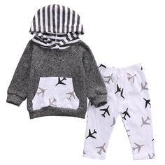 Boys 2pc Airplane Hooded Set