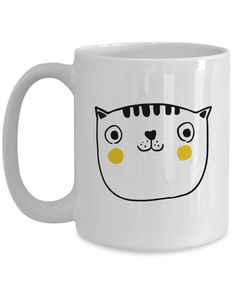 """Simply Sketched """"Cat's Face"""" 15oz White Coffee Mug"""