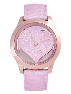 Pink and Rose Gold-Tone Clear Heart Watch