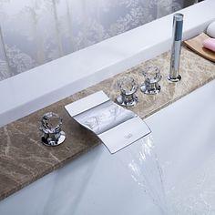 LED Wasserfall Badewanne Wasserhahn mit ausziehbarer Brause ... | {Armaturen badewanne wasserfall 45}