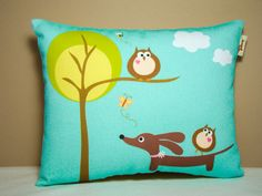 Wiener Dog Dachshund Pillow - Doxie and Owl's Day at the Park by persnicketypelican on Etsy https://www.etsy.com/listing/79045926/wiener-dog-dachshund-pillow-doxie-and