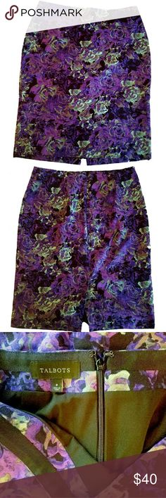 Talbots Pencil Skirt, Vivid Purple/Green Roses, 8 Stunning floral print puts a feminine spin on a rich faille pencil skirt. Grosgrain trim at interior waistband, Invisible zipper at center back, Back vent, Fully lined below waist facing, Pencil silhouette.  Excellent condition, Slim-fit (size up!)  Measurements: Waist (32 in around), Hips (39 in around), Length (23.5 in), Back Vent Length (5 in)  Fabric: Shell: 54% lyocell/46% cotton; Lining: 100% polyester Talbots Skirts Pencil