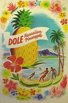 Vintage Dole Pineapple Poster  (hawaiiana.us)