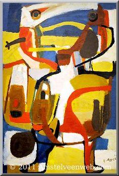 Karel Appel, (1921-2006), In november 1948 bezochten enkele leden van de Experimentele Groep een internationale conferentie over avant-garde kunst in Parijs, die was georganiseerd door Franse en Belgische surrealistische collega's. Onder anderen de Belg Christian Dotremont vond de benadering van de Fransen te sektarisch. Enkele Deense, Nederlandse en Belgische kunstenaars trokken zich daarop terug uit het congres en richtten de groep Cobra op. - Kleine jongen - 1951 Abstract Drawings, Abstract Art, Cobra Art, Dancing Drawings, Tape Art, Figure Painting, Dutch Painters, Folk Art, Modern Art