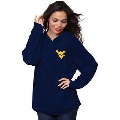 West Virginia Mountaineers Women's Hooded Spirit Jersey Oversized Long Sleeve T-Shirt - Navy $69